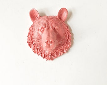 CORAL, SMALL Bear, Faux Taxidermy Small Bear Head Wall Mount, Small faux animal head, Small Faux Taxidermy, Coral Bear Head, Mini Woodland