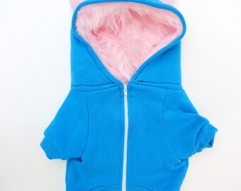 Dog  Monster Hoodie - Aqua with pink - Size XLarge - Pet - monster hoodie, horned sweatshirt, custom jacket