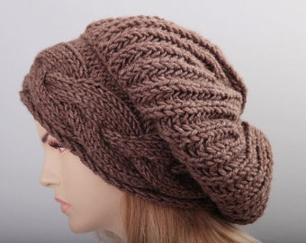 Brown slouchy beanie  oversized beanie hat winter knit hat for woman in black  -COLOR OPTION  AVAILABLE