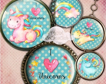 80% Off Spring Sale Magic Unicorn Party Mirror Cupcake Cake Topper Digital Collage Sheet 2.5 Inch Round Circle Images for Cardmaking Scrapbo
