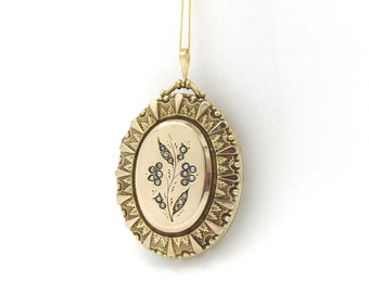 9K Gold Victorian Locket | Large 9ct Gold Back And Front Oval Faux Pearl & Paste Stone Set Antique Photo Locket Pendant