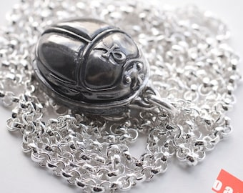 Book of the Dead - Silver Scarab Amulet With Heart Spell, Silver Scarab Amulet Pendant Necklace, Silver Scarab Charm, Silver Scarab Necklace