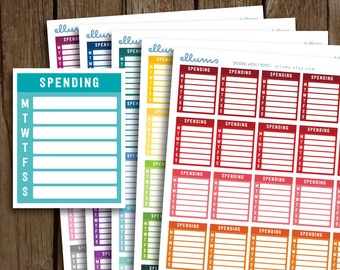 Spending Stickers | PRINTABLE pdf | Spending Planner Stickers | Spending Box | Side Bars | Weekly Expense Tracker | fits Erin Condren ECLP
