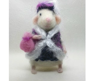 Mouse needle felted Little white lady mice Art gift Soft wool toy Waldorf doll