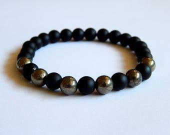 Black men of gate gemstones and pyrite bracelet