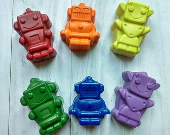 Robot Crayons, Robot Shaped Crayons, Birthday Gift, Robot Figures, Robot Lovers, Robot Party Crayons, Party Favours, Novelty Gift