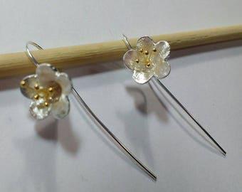 Sterling Silver flower 2 tones earrings