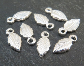 Sterling Silver Leaf Charm 10.5mm