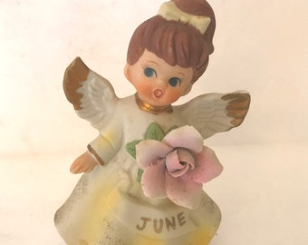 Vintage Adorable Angel figurine June Gemini - Gold Highlights- Cake Topper Birthday