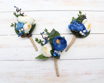 Navy Blue Rustic Boutonniere men's boutonniere Groom Wedding accessories blue flower boutonniere Groomsmen buttonhole Flower Boutonniere