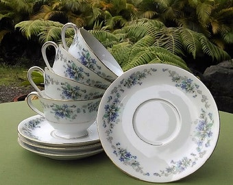 Noritake China Cups and Saucers Violette Pattern 3054 8 Piece Set, Vintage Made in Japan Porcelain Footed Cups/Saucers in Floral Design