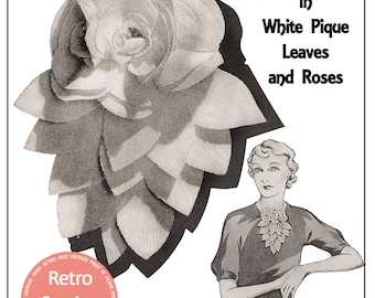 1930's Pretty Flower Jabot Pattern and Instructions - PDF Pattern - Instant Download