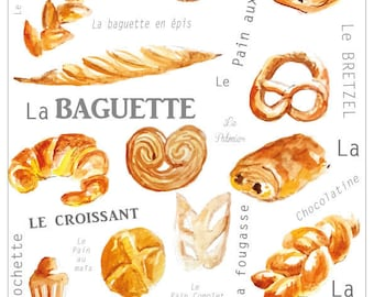 A4 poster breads and pastries of France