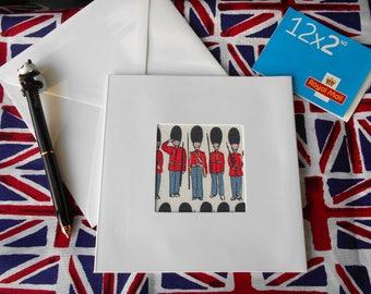 "London themed greetings card, handmade from, British Designer,  Cath Kidston's, "" Guards"", Fabric Panel"