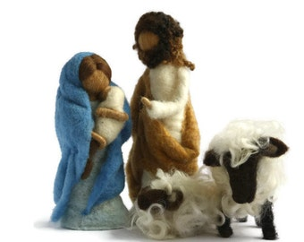 Needle Felted Sheep Mama and baby lamb for Nativity Set/Needle Felted Sheep/Wool Sheep/Felt Sheep/Sheep for Nativity Set