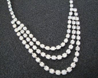 Weiss Rhinestone Necklace/Choker>> Triple Strand>> 1950's Vintage>> New old stock, never worn>> Sparkly!