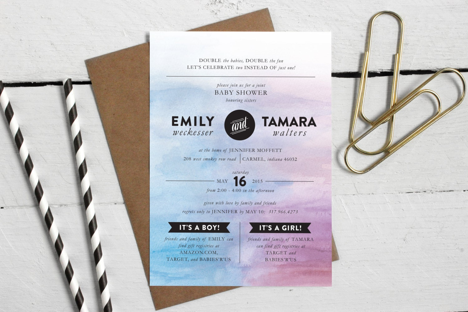 Printable Joint Baby Shower Invitation Custom Double Baby