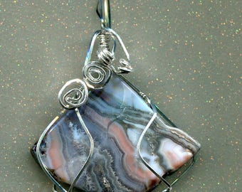 Handcrafted STERLING SILVER Wire wrapped PENDANT natural stone agate