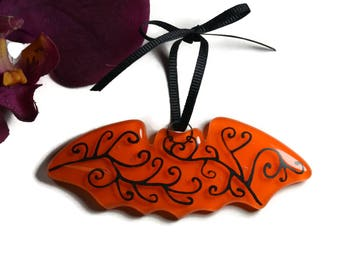 Halloween Bat Sun Catcher, Bat Ornament,  Fused Glass, Orange Bat, Hand Painted, Bat Suncatcher, Halloween Decor, Halloween Ornament