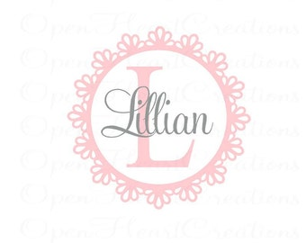 Initial and Name Wall Decal with Shabby Chic Flower Frame - Nursery Girl Vinyl Wall Decal Monogram FN0370