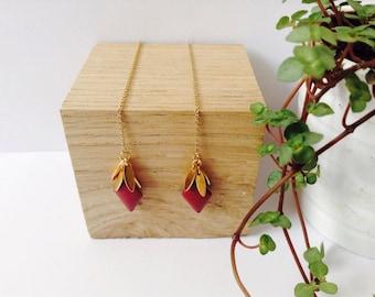 Gold and Burgundy Threader Earrings, 14 Gold Filled Threader earrings, Gold Earrings