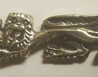 Heraldic lion solid brass badge