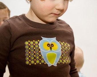 Funky Owl Toddler T-shirt, Brown Long Sleeve