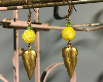 Vintage Brass Leaf Earrings