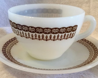 "Vintage Termocrisa Milk Glass Cup and Saucer in ""Wheat"" Pattern"