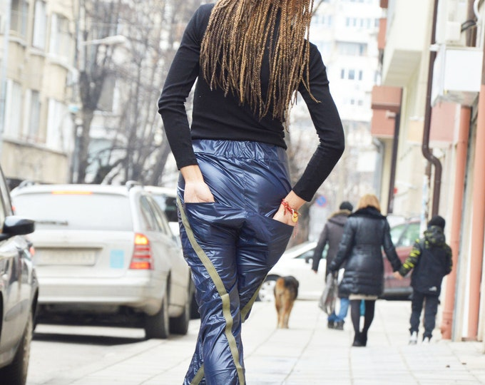 Extravagant Low Bottom Dark Blue Pants, Woman Trousers with Long Straps, Maxi Side Pokets Pants, Modern Pants by SSDfashion