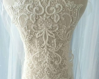 1pc Pearl Bead Bridal Wedding Lace Applique Ivory Floral Embroidered Exquisite Wedding Dress Bridal Veil Applique