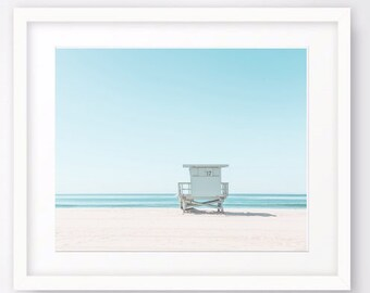Beach Decor, Ocean Print Coastal Wall Art Print, Lifeguard Tower, Seascape Printable, Ocean Photography, Nautical Decor, Large Wall Art