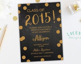 Graduation Party Invitation, Graduation Invitation, Graduation Announcement, Chalkboard Graduation Invite, Gold Glitter Invitation