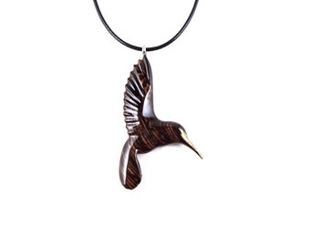Hummingbird Necklace, Hummingbird Pendant, Hummingbird Jewelry, Wooden Bird Pendant, Bird Necklace, Bird Jewelry, Bird Pendant, Wood Jewelry