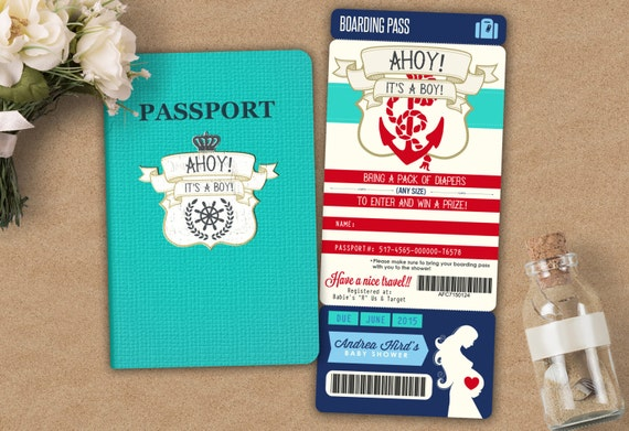 Nautical passport and ticket baby shower invitation baby boy filmwisefo Image collections