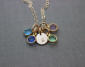 Initial Jewelry 14k Gold Filled Personalized Initial Necklace Simple Monogram Charm Rustic with 4 Birthstones, Mothers Day