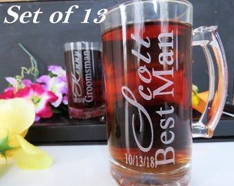 13 Groomsmen Gift Glasses, Personalized, Rehearsal Dinner, Toasting Glassses, Bestman GIft IDeas