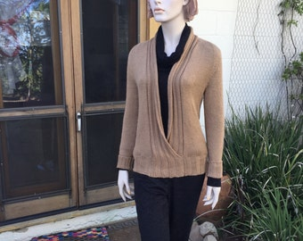 Deep V-neck rayon cotton sweater knitted Camel Brown longsleeves non wool