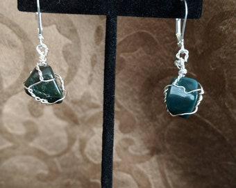 Wrapped bloodstone earrings