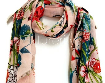 Multi Flowers Pale Pink Scarf / Spring  Summer Scarf / Autumn Scarf / Gifts For Her / Women Scarves / Handmade Accessories