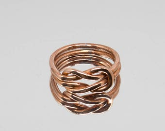 Friendship Ring Nesting Copper Ring, Metal Ring,Sparkle Ring,Wire Wrapped Ring,Copper Ring,Unique Ring,Womens Ring,Copper Friendship R41
