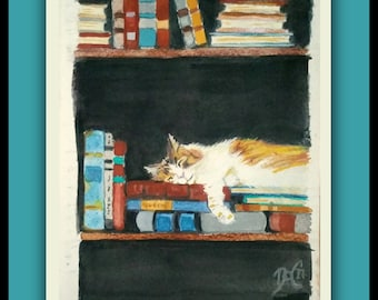 Original watercolor LIBRARY CAT Original Watercolor painting, cat, books, painting, art work, signed by the artist, sleeping cat