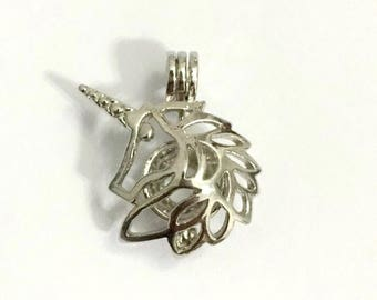 Unicorn pick a pearl cage - silver plated Locket Pendant - bead- gemstone - cage - Pick a pearl