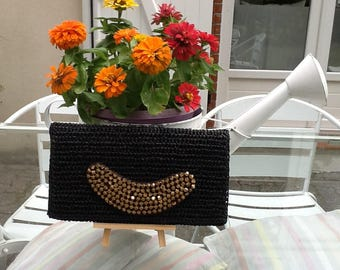 Gold black clouds pass-handmade pouch