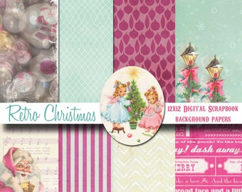 Digital Retro Christmas Papers for Digital Scrapbooking - Kitsch Christmas - Instant Download -