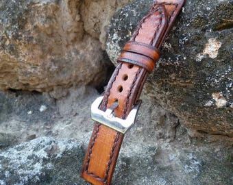 Handcrafted Watch Band 18mm Light Brown Leather and Dark Brown Edge Wrist Band