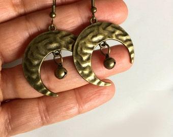 Moon Earrings,  Bronze Earrings, Bronze Jewellery, Crescent Earrings, Boho, Bohemian, Gypsy