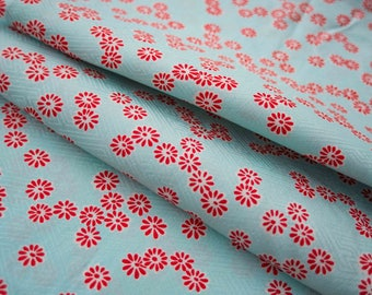 Red Daisies on a Summer Sky - Vintage Japanese Kimono Fabric