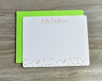 Personalized Christian Stationery | Flat Note Cards | Scripture Stationery | Confetti | Polka Dot | Pink Green | Set of 12 + Envelopes