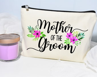 Mother of the Groom Makeup Bag, Mother Of The Groom, Monogram Cosmetic Bag, Makeup Bag, Floral Bag, Mother-of-the-Groom Gift, Personalized